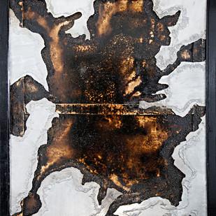 Window 3 by Simran KS Lamba, Abstract Painting, Mixed Media on Wood, Gray color
