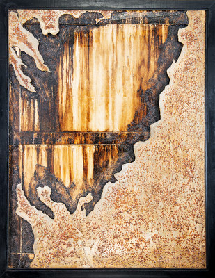 Window 4 by Simran KS Lamba, Abstract Painting, Mixed Media on Wood, Brown color