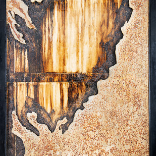 Window 4 by Simran KS Lamba, Abstract Painting, Mixed Media on Wood, Brown color
