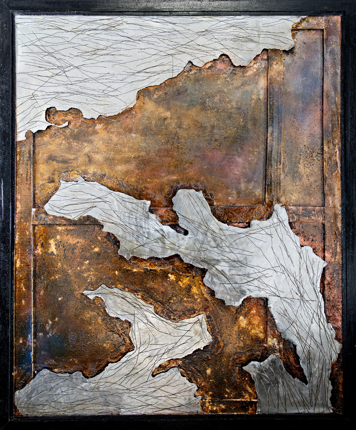 Window 5 by Simran KS Lamba, Abstract Painting, Mixed Media on Wood, Brown color
