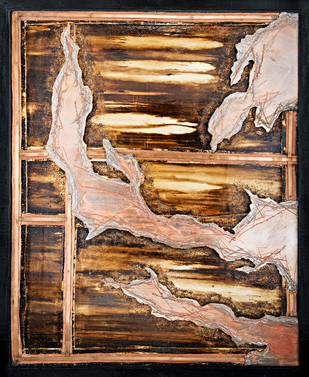 Window 6 by Simran KS Lamba, Abstract Painting, Mixed Media on Wood, Brown color