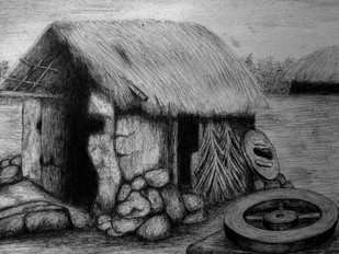 Village by Vishwanath Bhat, Illustration Drawing, Pen on Paper, Gray color
