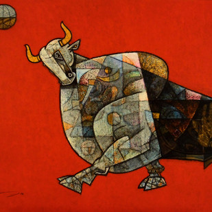 Celebration 19 by Dinkar Jadhav, Expressionism Painting, Acrylic on Canvas, Red color