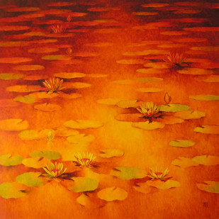 Water Lilies 62 by Swati Kale, Impressionism Painting, Oil on Canvas, Orange color