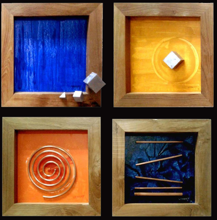 """Solid Lines (Set of 4 Paintings -12""""x12"""" Each) by Venkat Yerramshetty , Geometrical Painting, Mixed Media on Canvas, Brown color"""