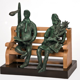 Relaxing by Manjari Goenka, Art Deco Sculpture | 3D, Bronze, Gray color