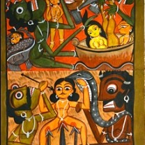 Yampat by Unknown Artist, Folk Painting, Watercolor on Paper, Brown color