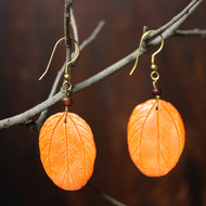 berry leaf orange by Aranya Earthcraft, Traditional Earring