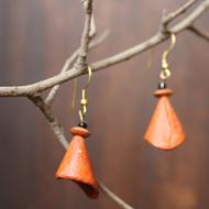 cone orange by Aranya Earthcraft, Traditional Earring