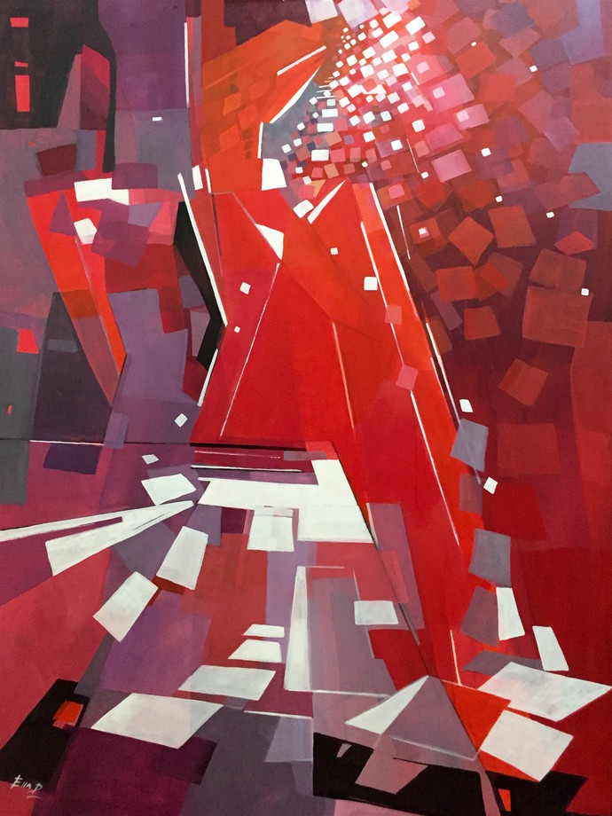 My Dreams by Ella Prakash, Cubism Painting, Acrylic on Canvas, Brown color