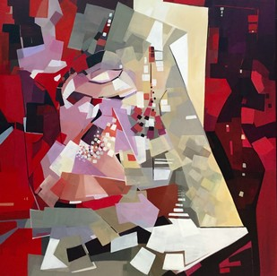 Stout Hearted by Ella Prakash, Cubism Painting, Acrylic on Canvas, Brown color