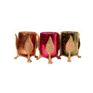 Leaf and Mercury Glass Votive Holders (Set of 3) T-Light and Votive Holder By The Yellow Door