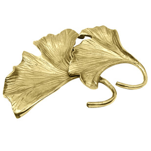 Golden Ginkgo Double Leaf Platter by The Yellow Door , Contemporary Platter, Metal, White color