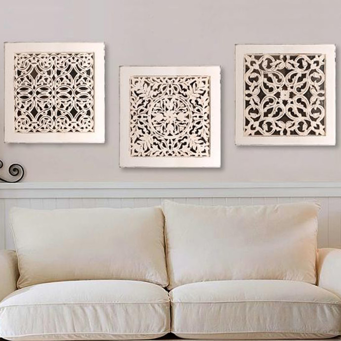 fretwork wall art white set of 3 wall decor by the. Black Bedroom Furniture Sets. Home Design Ideas