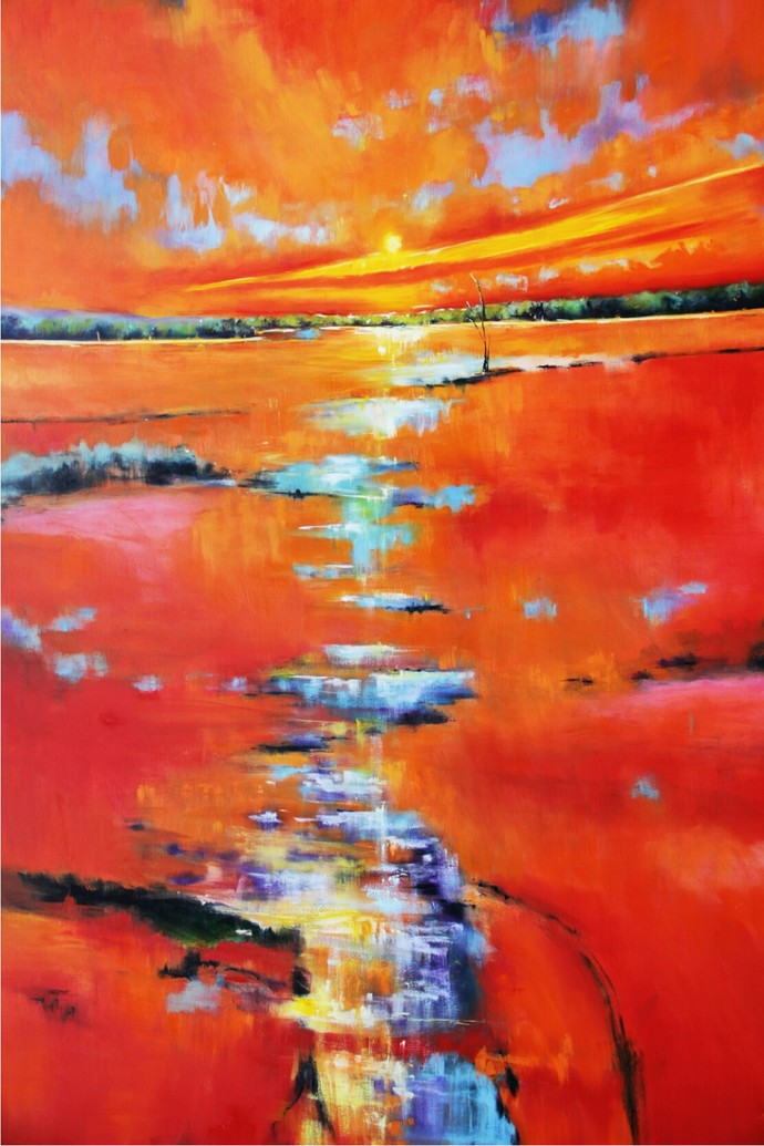 Sun Over Marshes by Nidhi Rajput Bhatia, Impressionism Painting, Oil on Linen, Red color