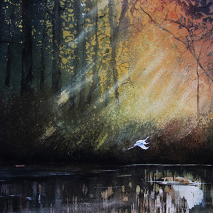 Early Morning Flight by Nidhi Rajput Bhatia, Impressionism Painting, Watercolor on Paper, Gray color