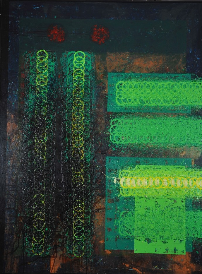 Unknown Vision by Sidharth Pansari, Abstract Painting, Acrylic & Ink on Canvas, Green color