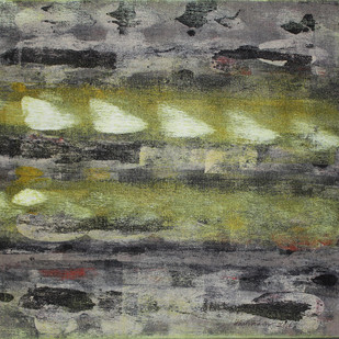 Stellar Memories 23 by V .Hariraam , Abstract Painting, Acrylic on Canvas, Gray color