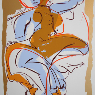 Radhika by Jatin Das, Impressionism Serigraph, Serigraph on Paper, Brown color