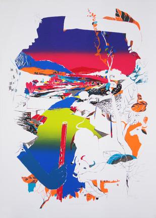 Miraculous Morning by Nabibaksh Mansoori, Impressionism Printmaking, Serigraph on Paper,