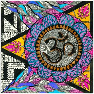Om by Malavika Reddy, Traditional Digital Art, Digital Print on Canvas, Brown color