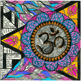 Om by Malavika Reddy, Traditional Digital Art, Digital Print on Canvas, Brown color