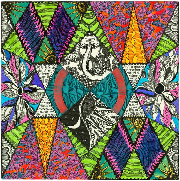 Om Gan Ganpataye Namah by Malavika Reddy, Traditional Digital Art, Digital Print on Canvas, Green color