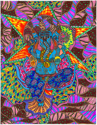Avighna by Malavika Reddy, Traditional Digital Art, Digital Print on Paper, Brown color