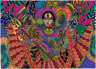Durga ye by Malavika Reddy, Traditional Digital Art, Digital Print on Paper, Brown color