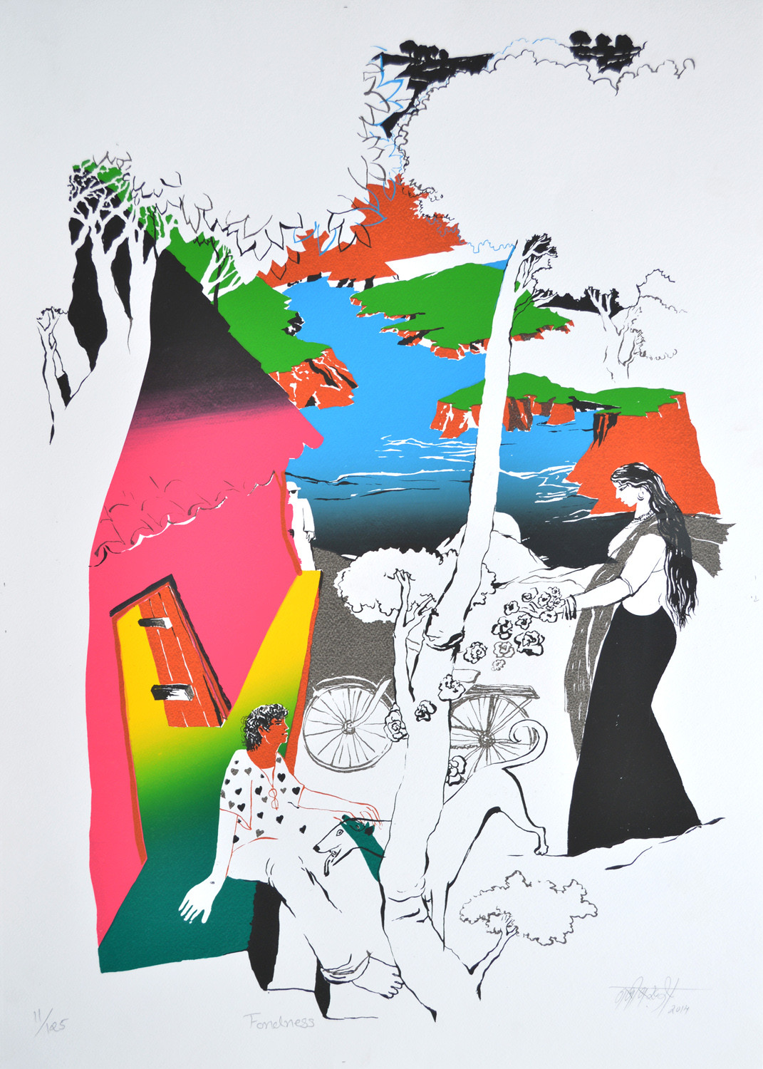 Fondness by Nabibaksh Mansoori, Expressionism Serigraph, Serigraph on Paper, Gray color