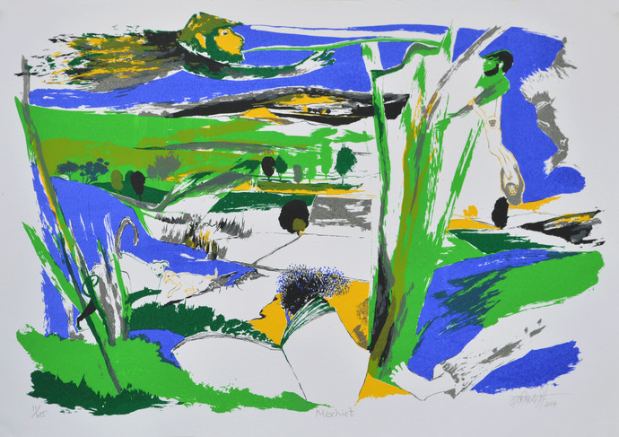 Mischief by Nabibaksh Mansoori, Expressionism Serigraph, Serigraph on Paper, Green color