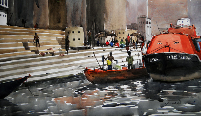 Varanasi by Asim Paul, Impressionism Painting, Watercolor on Paper, Brown color