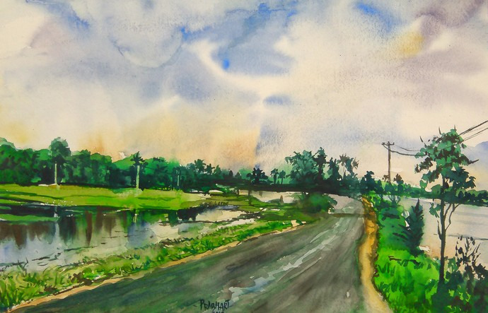 Landscape 3 by Prabhakaran, Impressionism Painting, Watercolor on Paper, Green color