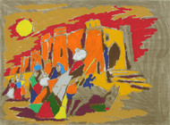 Golden Fort-Jaisalmer by M F Husain, Impressionism Serigraph, Serigraph on Paper, Brown color