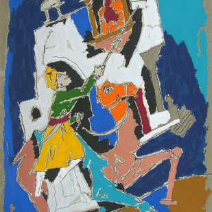 Folk Lore-Jaisalmer by M F Husain, Expressionism Serigraph, Serigraph on Paper, Brown color
