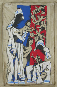 Mother by M F Husain, Expressionism Serigraph, Serigraph on Paper, Brown color