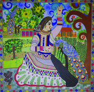 Basant Ragini by Sailesh Sanghvi, Decorative Painting, Mixed Media on Canvas, Brown color