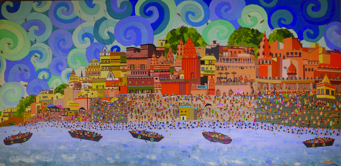 Temple Town - Banaras by Sailesh Sanghvi, Decorative Painting, Mixed Media on Canvas, Brown color