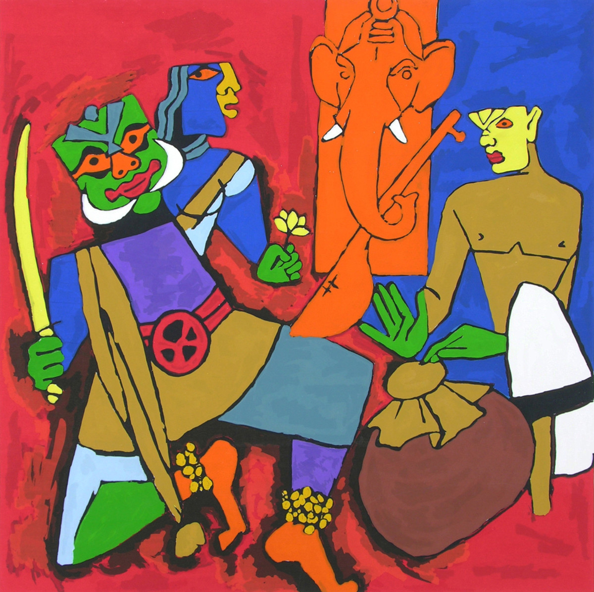 Kerala I by M F Husain, Expressionism Serigraph, Serigraph on Paper, Brown color