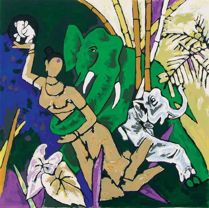 Kerala III by M F Husain, Expressionism Serigraph, Serigraph on Paper, Green color