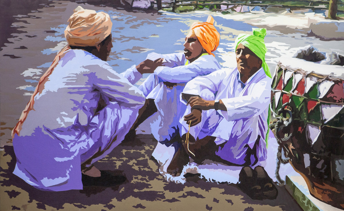 After Celebration by raj kumar sharma, Impressionism Painting, Acrylic on Canvas, Brown color