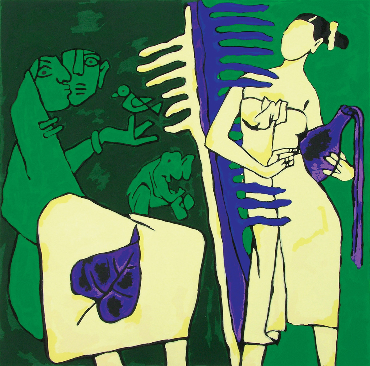 Kerala IV by M F Husain, Expressionism Serigraph, Serigraph on Paper, Green color