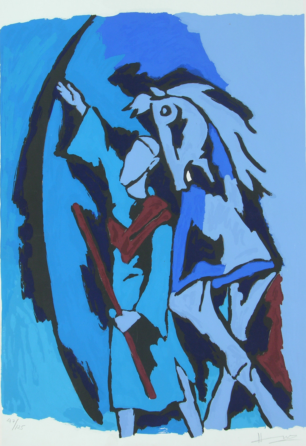 Dada Abdul by M F Husain, Expressionism Serigraph, Serigraph on Paper, Blue color