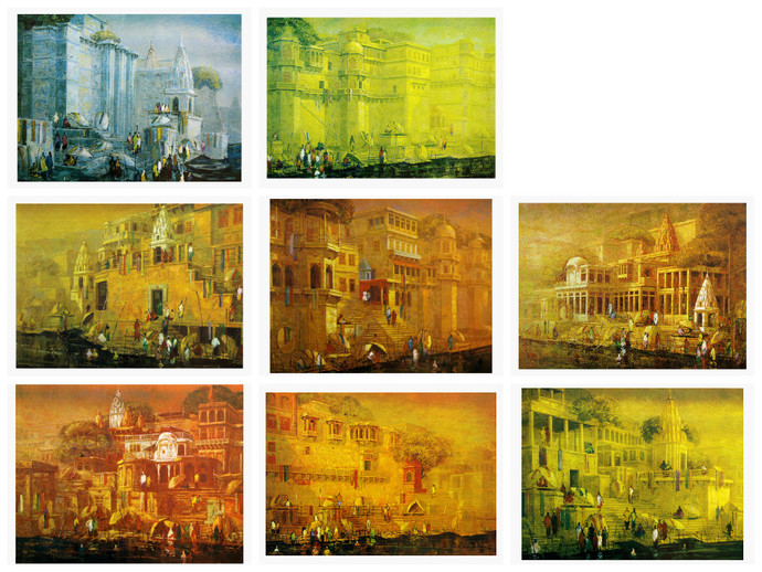 Varanasi by Yashwant Shirwadkar, Impressionism Serigraph, Serigraph on Paper, Brown color