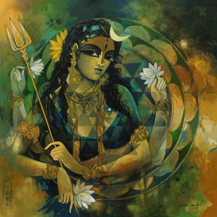 Woman In Sri Chekra by Rajeshwar Nyalapalli, Decorative Painting, Acrylic on Canvas, Green color