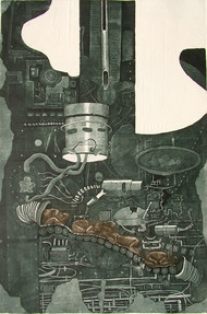 New Start by Jeevan Chandra Tiwari, Illustration Printmaking, Etching and Aquatint, Green color
