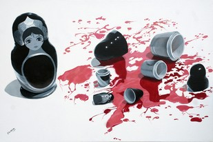 Bloodline by Sripriya Mozumdar, Pop Art Painting, Oil on Canvas, Gray color