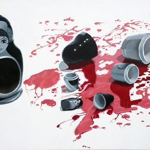 Bloodline by Sripriya Mozumdar, Pop Art Painting, Oil on Canvas, Gray color