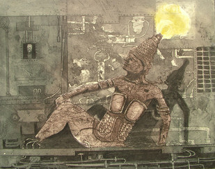 The King Of Machine by Jeevan Chandra Tiwari, Expressionism Printmaking, Etching and Aquatint, Brown color