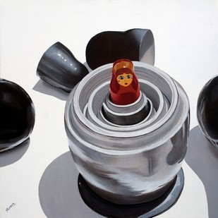 Inviolate Me by Sripriya Mozumdar, Photorealism Painting, Oil on Canvas, Gray color